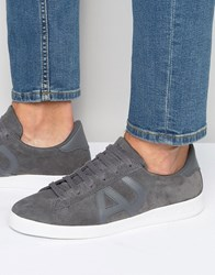 Armani Jeans Suede Logo Trainers Grey