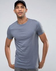 Asos T Shirt With Crew Neck In Blue Condensation