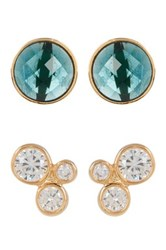 Melinda Maria Jasmine Cz Stud And Blue Topaz Earrings Set White