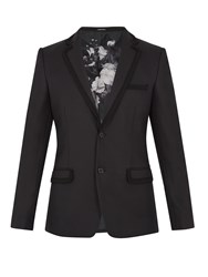 Alexander Mcqueen Embroidered Trim Notch Lapel Wool Blazer Black