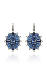 Nam Cho 18K White Gold Sapphire And Diamond Earrings Blue