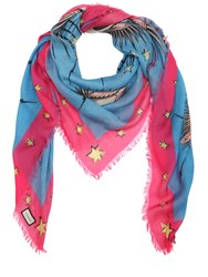 Gucci Eyes And Stars Fringed Scarf