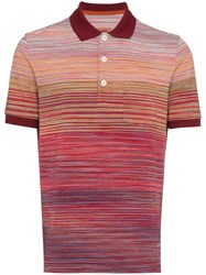 Missoni Striped Cotton Polo Shirt Red