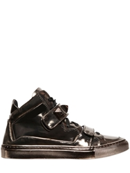 Giacomorelli Laminated Leather High Top Sneakers Antique Gold