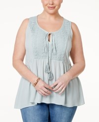 Eyeshadow Plus Size Crochet Trim Peplum Peasant Top Urban Sage