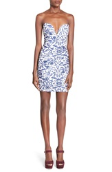 Missguided Print Strapless Body Con Dress Blue Print