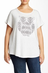 Bobeau Short Sleeve Printed Owl Graphic Tee Plus Size White