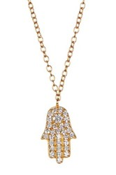 Argentovivo 18K Gold Plated Sterling Silver Pave Cz Hamsa Pendant Necklace Metallic