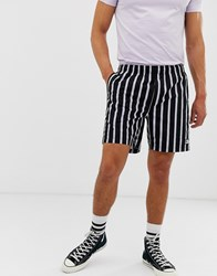 Obey Easy Striped Shorts In Black White