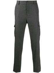 Eleventy Striped Tailored Trousers Grey