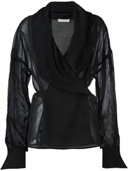 Christian Dior Vintage Shawl Collar Top Black