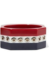 Red Valentino Eyelet Embellished Striped Resin Bangle Multicolor