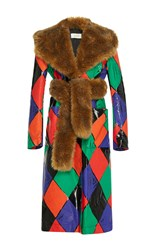 Isa Arfen Faux Fur Harlequin Trenchcoat With Fur Belt Multi