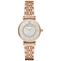 Emporio Armani Women's Stainless Steel Bracelet Strap Watch Rose Gold Grey