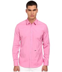 Dsquared Relax Dan Cotton Poplin Shirt Pink Men's Long Sleeve Button Up