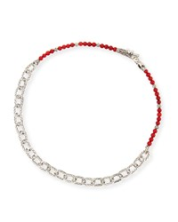 Men's Naga Red Coral Beads And Chain Wrap Bracelet John Hardy