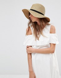 French Connection Wide Brimmed Natural Fedora Hat Natural Straw Beige