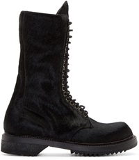 Rick Owens Black Calf Hair Army Boots