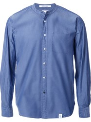 Bedwin And The Heartbreakers Collarless Button Down Shirt Blue
