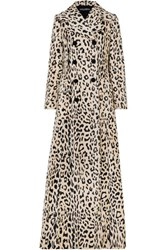 Dolce And Gabbana Double Breasted Leopard Print Cotton Blend Faux Fur Coat Leopard Print