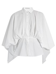 Palmer Harding Open Back Gathered Waist Cotton Blend Shirt White