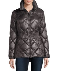 Laundry By Shelli Segal Hidden Hood Lightweight Quilted Puffer Coat Charcoal