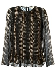 Michael Michael Kors Dot Print Longsleeved Blouse Black
