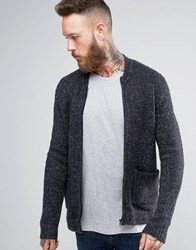 Asos Knitted Bomber Jacket With Elasticated Waist And Side Entry Pocke Gray