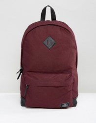 Asos Backpack In Burgundy Canvas With Faux Leather Base Red