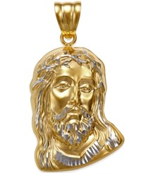 Macy's Men's Christ Head Pendant In 14K Yellow And White Gold Yellow Gold