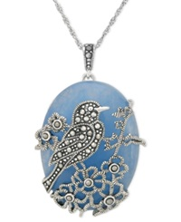 Genevieve And Grace Sterling Silver Necklace Blue Jade 33 3 8 Ct. T.W. And Marcasite Bird Pendant