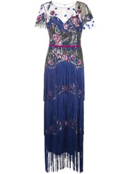 Marchesa Notte Tiered Fringe Evening Gown Blue