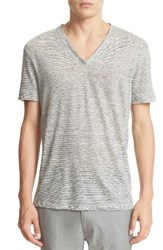 John Varvatos Men's Collection Melange Stripe Burnout Linen T Shirt Grey Heather