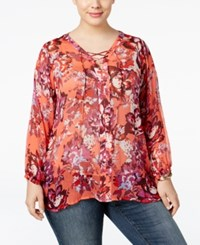 Lucky Brand Trendy Plus Size Printed Lace Up Blouse Medium Red