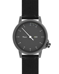 Miansai M24 Stainless Steel Watch With Leather Strap Black