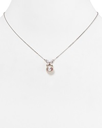 Majorica Organic Simulated Pearl Butterfly Pendant Necklace 16 Silver