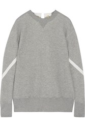 Sacai Lace Up Cotton Blend Sweatshirt Gray