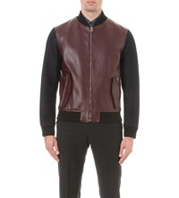 Salvatore Ferragamo Leather And Wool Bomber Jacket Navy Burgundy