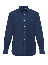 Finamore 1925 Seattle Slim Fit Cotton Shirt Navy