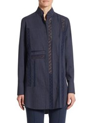 Akris Punto Lace Tunic Blouse Blue Denim