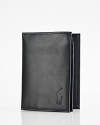Polo Ralph Lauren Burnished Leather Window Billfold Wallet Black