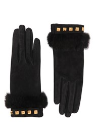 Mario Portolano Suede Gloves With Mink Fur And Studs Black