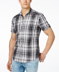 Inc International Concepts Mushburger Plaid Short Sleeve Shirt Only At Macy's Silver Stream