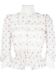 Marc By Marc Jacobs Cherry Print Victorian Blouse Nude And Neutrals