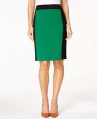 Nine West Colorblocked Pencil Skirt Emerald Black