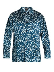 Meng Floral Print Silk Satin Pyjama Top Blue Multi