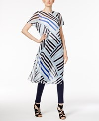 Calvin Klein Sheer Striped Tunic White Black Iceberg Blue