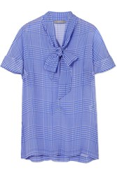 Lela Rose Pussy Bow Checked Silk Chiffon Top Blue