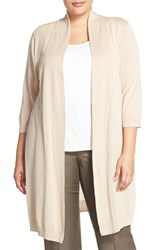 Plus Size Women's Sejour Linen And Cotton Elbow Sleeve Open Cardigan Tan Oxford