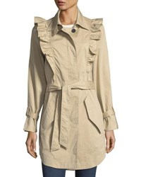 Joie Gila Button Front Belted Trench Coat Sand